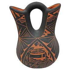 Wedding Vase, Medium. Signed AC, Acoma, NM. Alisha Chino
