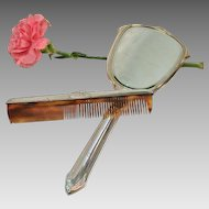 """Vintage Sterling Silver Dresser Set Mirror and Comb set - With initials """"PML"""""""