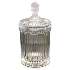 Three Face American Victorian Neoclassic Glass Jar Cigar Humidor