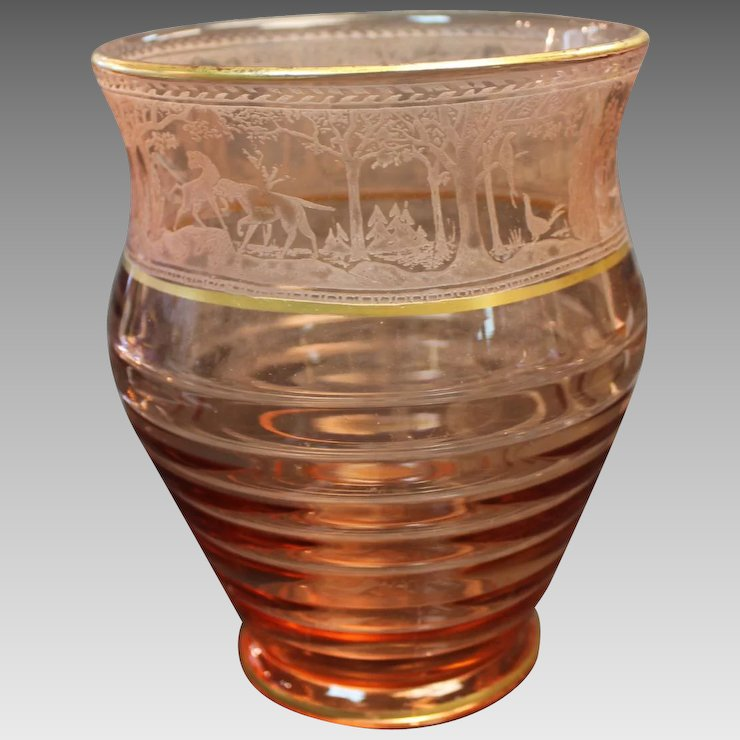 Fostoria Etched Vase Pink With Gold Trim Hunting Mold 1939 Sharp