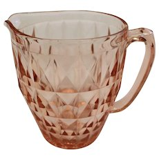 Jeannette Glass Co Pink Pitcher Windsor Diamond 52 Oz pitcher 6 3/4in tall Circa 1936-1946