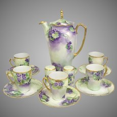 RARE Hand-painted Rosenthal German 13 Piece Porcelain Chocolate Set (OTH10363A)