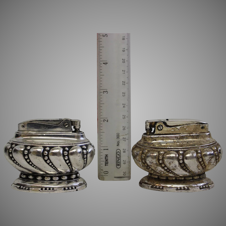 BOGO Ronson Crown Table Lighters, 1936-1954  Silver plated