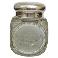 Vintage RARE Intact Polished Cut Glass Tobacco Humidor, A Beautiful Work of Art in Glass (OTH10287)