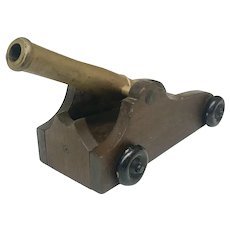Antique Metal/Wood Cannon Pull Toy Circa 1890-1910 (OTH10311)