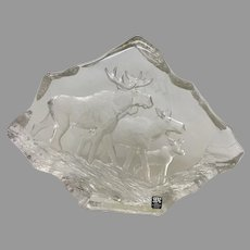 """Uncommon Mats Jonasson """"Moose Family"""" Engraved Lead Crystal Sculpture (OTH10348) on SALE NOW"""