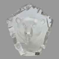 "RARE Mats Jonasson ""Polar Bear"" Engraved Lead Crystal Sculpture (OTH10350)"