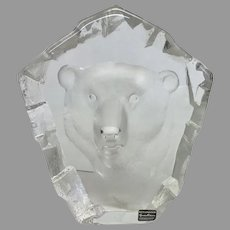"RARE Mats Jonasson ""Polar Bear"" Engraved Lead Crystal Sculpture (OTH10350) on SALE NOW"