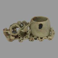 Vintage Intricate Soapstone Brush Pot/Paint Pot (OTH10356)