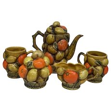 30% Off Intro Special EXTENDED! Vintage Circa 1960's Inarco Japan Orange Spice Fruit 5 piece Breakfast Set (OTH10362)