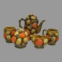 Vintage Circa 1960's Inarco Japan Orange Spice Fruit 5 piece Breakfast Set (OTH10362)