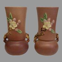 "Fine Pair of Vintage 1948 Roseville Pottery Apple Blossom 381-6"" Vases (OTH10366)"
