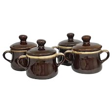 """Vintage Nelson McCoy Pottery Co. Brown Drip """"Onion Soup Bowls"""" With Lid (OTH10388)"""
