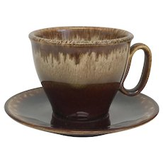 Vintage USA Brown Drip Pottery Cup and Saucer Sets (OTH10389)