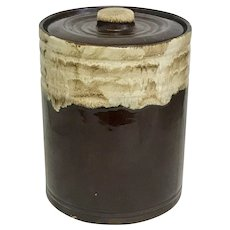 Vintage Brown Drip Pottery Crock with Lid (OTH10394)