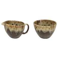 Vintage Canonsburg Brown Drip Creamer and Open Sugar Bowl Set (OTH10396)