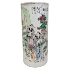 Hand-Painted Antique Chinese Brush Pot From 1600-1800 (OTH10399)