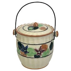 Cookie/Biscuit Bucket Vintage Ceramic Hand-Painted With Handle and Lid (OTH10438)