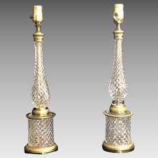 Rare Russian Imperial Glass Factory Dore Bronze Candlesticks Circa 1810-1840 (OTH10441)