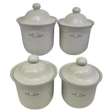 Vintage Circa 1948 Pfaltzgraff Heirloom Ceramic Set of Four Canisters with Lids (OTH10458)