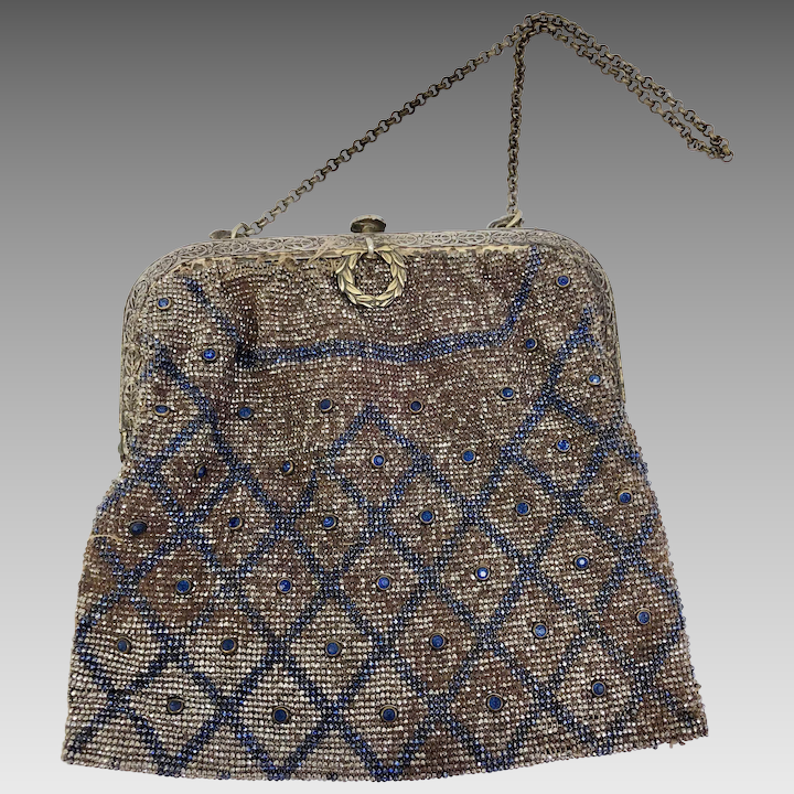 fb39464576 One of a Kind Vintage Purse with Blue Beading accents and Rhinestones    Sharp Facets Gallery