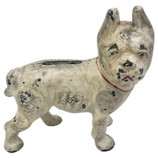 Vintage Hubley French Bulldog Cast Iron Coin Bank (OTH10495)
