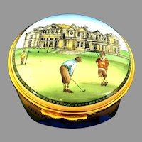Vintage Halcyon Enamel round hinged box with Presentation Box Mint condition . For Golfers or Lovers Golf shows St Andrews Old Course (OTH10516) On SALE