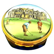 Vintage Halcyon Enamel round hinged box with Presentation Box Mint condition . For Golfers or Lovers Golf shows St Andrews Old Course (OTH10516)