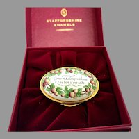"""Beautiful Vintage Staffordshire Enamel Trinket Box with Original Box-""""Grow Old Along with me. the Best is yet to be"""" (OTH10517)"""