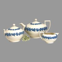 Vintage Wedgewood  Embossed Queensware Teapot, covered sugar and repaired creamer set