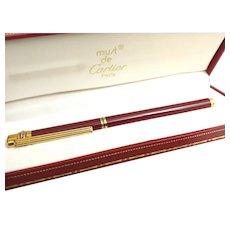 Vintage Must De Cartier 18kt Nib Fountain Pen Enamel case in Original Box (OTH10529)