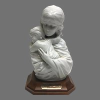 "Rare! Vintage Edna Hibel ""Maria and Child"" Premier Porcelain Sculpture with Walnut Base No. 54/250 Section 2 Circa 1970 (OTH10542A)Perfect Condition!"
