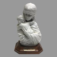"Rare! Vintage Edna Hibel ""Maria and Child"" Premier Porcelain Sculpture with Walnut Base No. 54/250 Section 2 Circa 1970 (OTH10542A)Perfect Condition!on SALE  Great Piece"