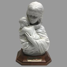 """Rare! Vintage Edna Hibel """"Maria and Child"""" Premier Porcelain Sculpture with Walnut Base No. 54/250 Section 2 Circa 1970 (OTH10542A)Perfect Condition!on SALE  Great Piece"""