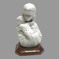 "Rare! Vintage Edna Hibel ""Maria and Child"" Premier Porcelain Sculpture with Walnut Base No. 114/250 Section 2 Circa 1970(Oth10543). Perfect Condition! On SALE Thru 12-17-2020"