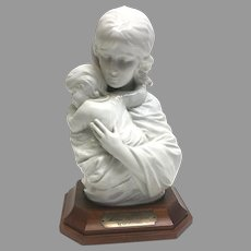 """Rare! Vintage Edna Hibel """"Maria and Child"""" Premier Porcelain Sculpture with Walnut Base No. 114/250 Section 2 Circa 1970(Oth10543). Perfect Condition! On SALE Thru 12-17-2020"""