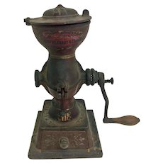 RARE! Landers, Frary & Clark Crown Cast Iron Coffee Mill No.11 (OTH10546) Antique cast iron coffee mill with original wooden handle and logos.