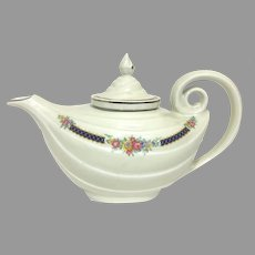 """Elegant Vintage """"Aladdin Teapot"""" with Infuser in Blue Bouquet Pattern By the Hall China Company Circa 1942! (OTH10554) Teapot and Infuser in great condition! With Platinum Accents on SALE Great Vintage Piece!"""