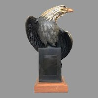 Vintage Bronze Eagle Sculpture by Robert Taylor Circa 1990 With Marble Base (OTH10573A) Beautiful Bronze Statue in Good Condition! on SALE thru 2-17-2021