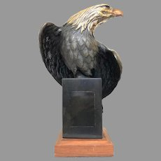 Vintage Bronze Eagle Sculpture by Robert Taylor Circa 1990 With Marble Base (OTH10573A) Beautiful Bronze Statue in Good Condition!