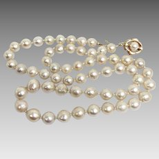 Vintage 24 inch Baroque South Sea Pearl Necklace 7.5mm-10.5mm with 14 Karat Yellow Gold Clasp (PEAR10025)