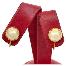 Circa 1930's 14K Yellow Gold and Mabe Pearl Non Pierced Earrings (PEAR10031)