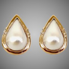 Estate Large Beautiful Pear Shaped Mabe Pearl Earrings 14kt Yellow Gold with Omega Backs (PEAR10032)