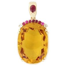 FIRECRACKER Closeout  WOW Custom Citrine 52.7ct with Ruby Crown and Ruby Bail, 14k gold. Elegance and Style from our Big Bold Beautiful Collection!