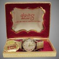 Davis Watch Swiss Deluxe 17 Jewel Original Box WAT10075