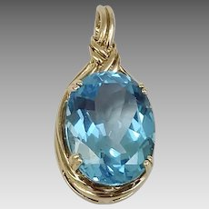 Blue Topaz 10KY Pendant with Pearl Enhancer Bail (PENCOL10064)