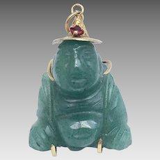Vintage 14 Karat Yellow Gold Jade and Ruby Pendants of Resting Buddha, Circa 1948 Shanghai (PENCOL10077)