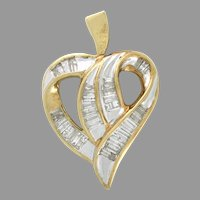 HUGE Vintage 2.00tcw Diamond Heart Pendant 10kt yellow gold For your Sweetheart, Mother, Bride or Just Because (PENDIA10013A))