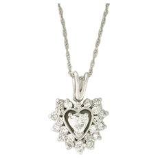 WOW FINAL Mark Down! Custom .97tcw Diamond Heart Necklace, center heart cut diamond is .37ct SI - E, 14k white gold - PENDIA10015