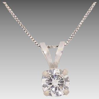 Gorgeous  0.62ct Diamond Pendant in 14 Karat White Gold With Chain (PENDIA10035)